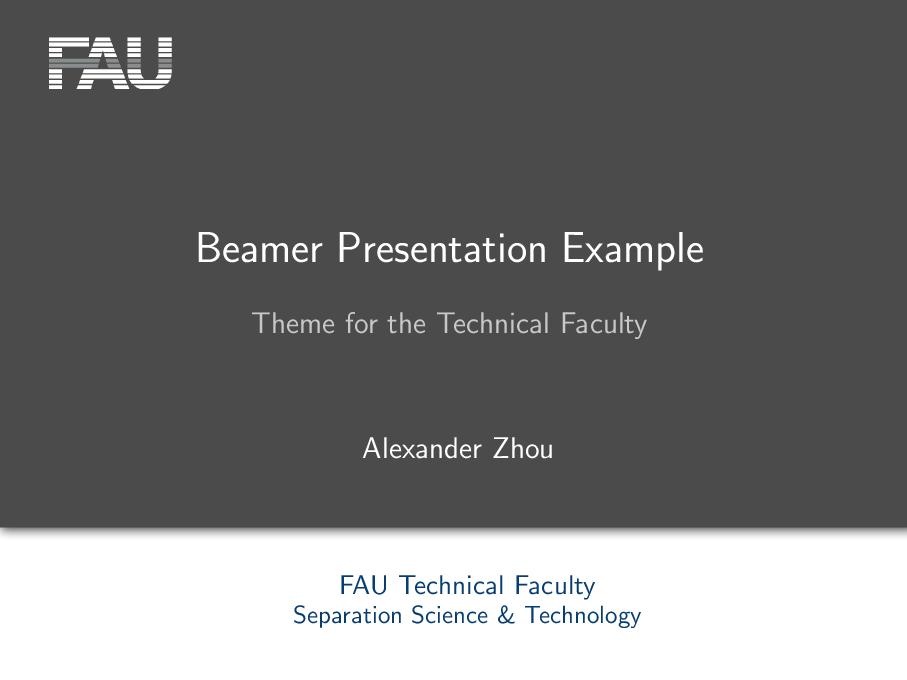 专为 Technical Faculty of the FAU Erlangen 定制的 beamer 主题