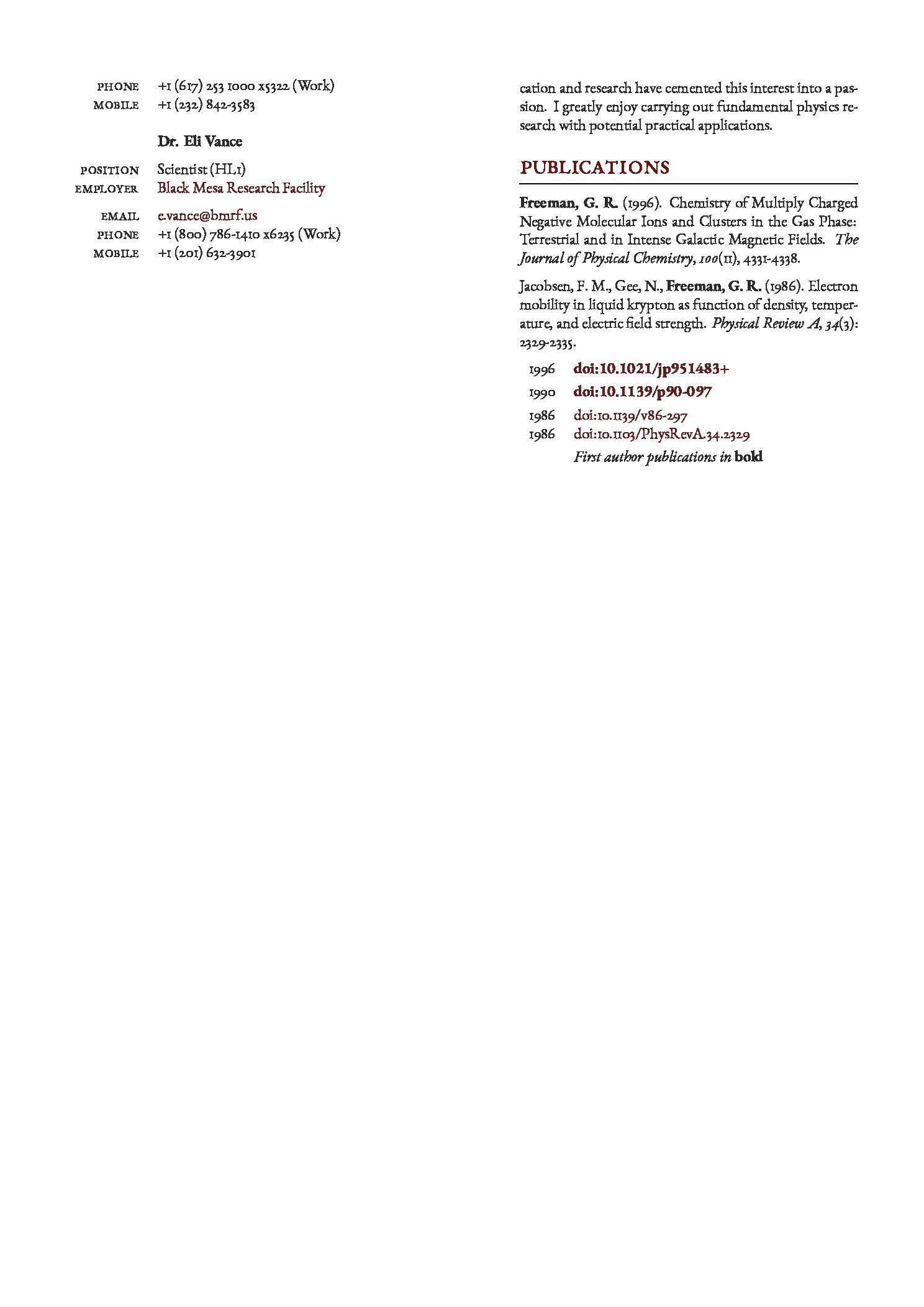 经典的双栏 LaTeX 简历模板